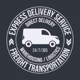 Badge template of fast delivery van. Freight Transportation label, emblem. Stock Images