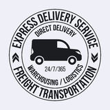 Badge template of fast delivery van. Freight Transportation label. Stock Image