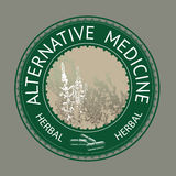 Badge template with text Alternative medicine. Royalty Free Stock Photo