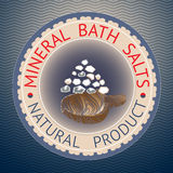 Badge template with text Mineral Bath Salts, Natural Product. Royalty Free Stock Photo