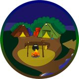 A badge with a tent camp on a background of the night sky, a bonfire on which the soup is prepared. vector illustration