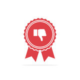 Badge with thumbs down. Red medal icon in a flat design Stock Photography