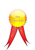 Badge to dad from santa. Gold badge made for dad from Santa Claus with red ribbon and with the message Merry Christmas. Is vector and can be resized very easy Royalty Free Stock Image