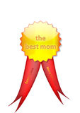 Badge to mom from santa. Gold badge made for the mom from Santa Claus with red ribbon and with the message Merry Christmas. Is vector and can be resized very Stock Image
