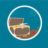 Badge with Treasure Chest on Sea Bottom Royalty Free Stock Image