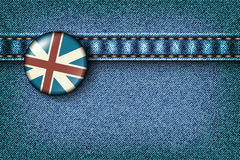 Badge with the UK flag on the jeans Royalty Free Stock Photo