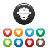 Badge warrior icons set color. Badge warrior icon. Simple illustration of badge warrior icons set color isolated on white vector illustration