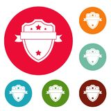 Badge warrior icons circle set. Isolated on white background stock illustration