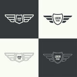Badge with wings. Badge and shield with wings. Symbol of military and civil aviation. Outline  emblems Stock Photo
