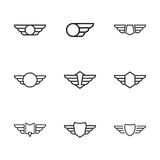 Badge with wings. Badge and shield with wings. Symbol of military and civil aviation. Outline  emblems Royalty Free Stock Photos