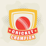 Badge with winning trophy and ball for cricket concept. Retro style cricket sports badge or label design with winning shield and red ball on stylish background Royalty Free Stock Image