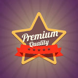 Badge With Star And Premium Quality Label On Dark Stock Photo