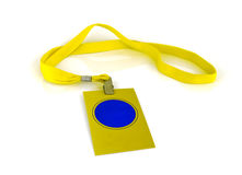 Badge with yellow neck strap on white background Royalty Free Stock Photography