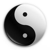 Badge - Yin Yang. 3d rendering of a Yin Yang badge Royalty Free Stock Photography