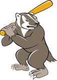 Badger Baseball Player Batting Isolated Cartoon Stock Image