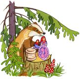 Badger gives gifts on a stub under a fir-tree in the forest, watercolor illustration stock image