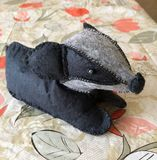 Badger. Homemade toy badger. Children`s toy Royalty Free Stock Image