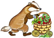 Badger rolls a basket with gifts, watercolor illustration stock image