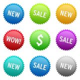 Badges. New and Sale colorful badges for websites and shopping carts Royalty Free Stock Photography