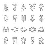 Badges awards vector outline stroke icon set Royalty Free Stock Image