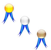Badges blue ribbon Stock Image
