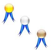 Badges blue ribbon Stock Image