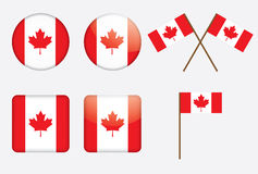 Badges with Canadian flag Stock Photos