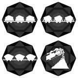 Badges coal industry. Icons with abstract images of objects and equipment used in the mining industry. Illustration on white background Stock Image