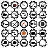 Badges coal industry. Set of badges and coal mining machinery. Illustration on white background vector illustration