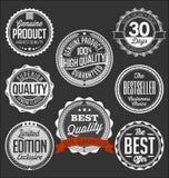 Badges a coleção Branco em um fundo preto, edição limitada Foto de Stock Royalty Free