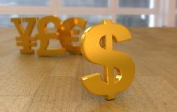 Badges currency of the world. Golden 3D emblem currency of the world, on wooden surface Stock Illustration