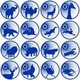 Badges with fauna. Badges with representatives of fauna. The illustration on a white background Stock Images