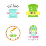 Badges with fertilizers illustrations. Stock Photo