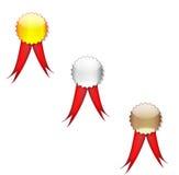 Badges a fita vermelha Fotografia de Stock
