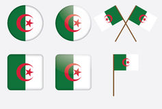 Badges with flag of Algeria. Set of badges with flag of Algeria vector illustration Stock Images