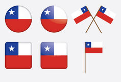 Badges with flag of Chile. Set of badges with flag of Chile vector illustration Royalty Free Stock Images