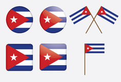 Badges with flag of Cuba. Set of badges with flag of Cuba vector illustration Stock Photography