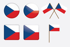 Badges with flag of Czech Republic. Set of badges with flag of Czech Republic Royalty Free Stock Image