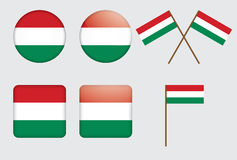 Badges with flag of Hungary. Set of badges with flag of Hungary vector illustration Stock Image