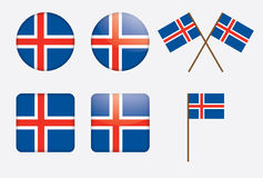 Badges with flag of Iceland. Set of badges with flag of Iceland vector illustration Royalty Free Stock Photo