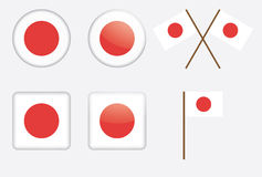 Badges with flag of Japan. Set of badges with flag of Japan vector illustration Stock Photo