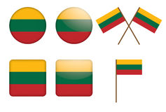 Badges with flag of Lithuania. Set of badges with flag of Lithuania vector illustration Stock Photo