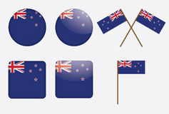 Badges with flag of New Zealand Royalty Free Stock Image