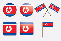 Badges with flag of North Korea. Set of badges with flag of North Korea vector illustration Royalty Free Stock Image