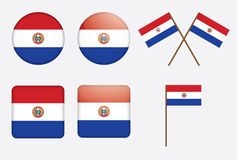 Badges with flag of Paraguay Stock Images