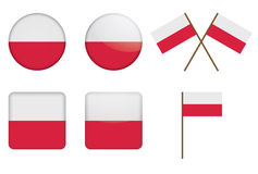 Badges with flag of Poland Royalty Free Stock Photography