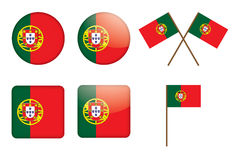 Badges with flag of Portugal. Set of badges with flag of Portugal vector illustration Stock Photo