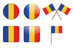 Badges with flag of Romania. Set of badges with flag of Romania vector illustration Stock Photos