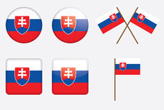 Badges with flag of Slovakia. Set of badges with flag of Slovakia vector illustration Royalty Free Stock Images