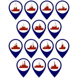 Badges with frigates and corvettes Royalty Free Stock Image